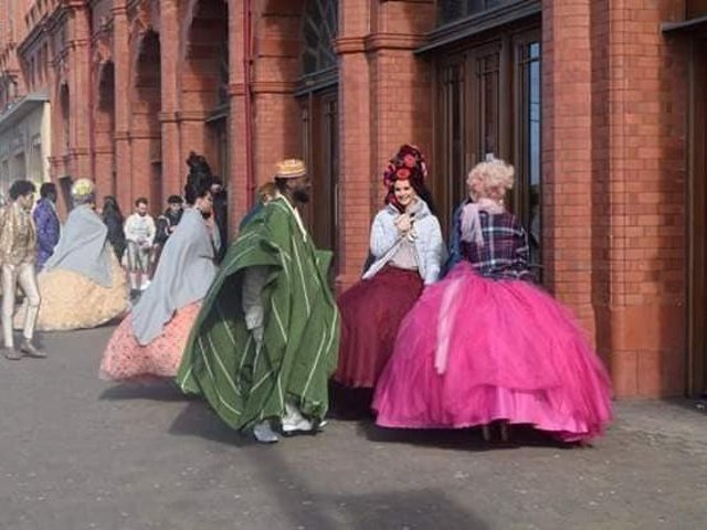 You shall go to the ball - characters seen in costume in Blackpool today