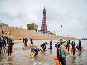 Swimmers get set for the annual pier to pier swim at Blackpool