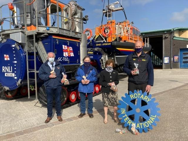 Digby Moulden, David Forshaw and Tom Stuart with St Annes Rotary president Brenda Ackers
