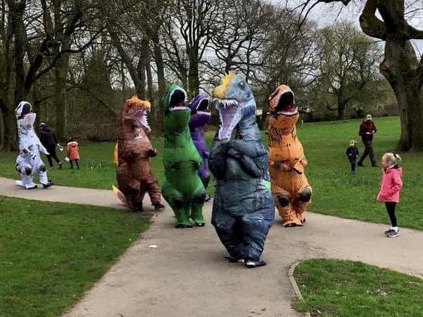 Samantha Clarkson, 47, and five pals donned the hilarious 7ft-tall inflatable outfits on Saturday