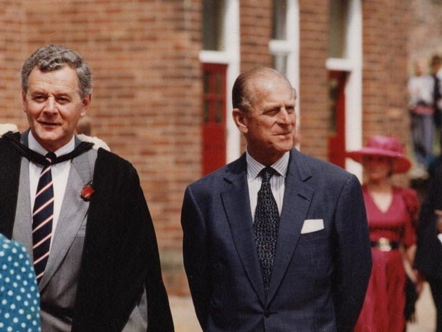 Prince Philip with Richard Rhodes, Headmaster of Rossall School, back in 1994.