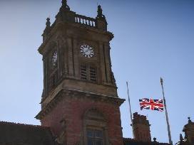 The Union Jack flies at half mast on Blackpool Town Hall