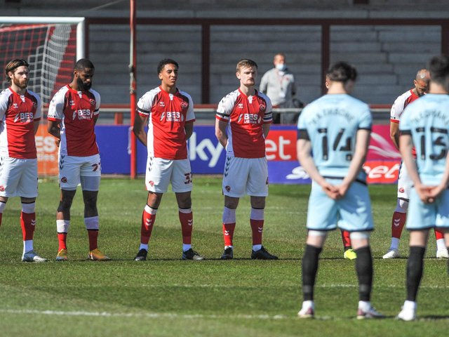 Fleetwood Town and Rochdale players took part in a two-minute silence before today's game Picture: Stephen Buckley/PRiME Media Images Limited