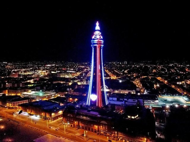The Tower lit up red, white, and blue on Friday, April 9, 2021 following the death of His Royal Highness Prince Philip, the Duke of Edinburgh (Picture: Dave Nelson)