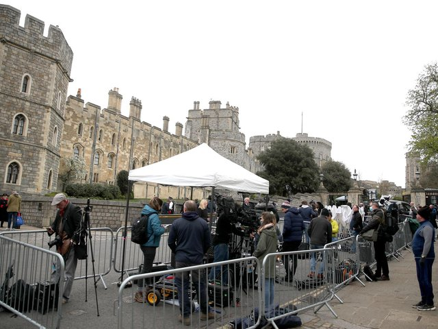 Media outside Windsor Castle, Berkshire, following the announcement on Friday April 9, of the death of the Duke of Edinburgh at the age of 99. Picture date: Saturday April 10, 2021. Picture: Steve Parsons/PA Wire