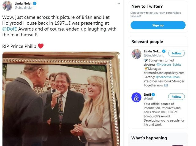Linda Nolan shared a picture of herself and her late husband Brian Hudson with Prince Philip in 1997 (Picture: Twitter/Linda Nolan)