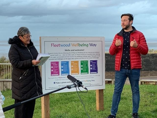 Coun Christine Smith and Martyn Kenyon from Hearing Loss UK at the start of Fleetwood Wellbeing Way