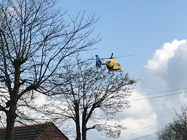 """The Air Ambulance landing in Poulton on April 14 to attend to a child who suffered a """"medical episode."""""""