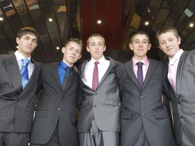 Millfield High School leavers prom, 2010. From left: Francis Hagan,Jordan Connolly, Luke Durham,Matthew Chalk and Dan Stirzaker. Picture by Kevin Walsh