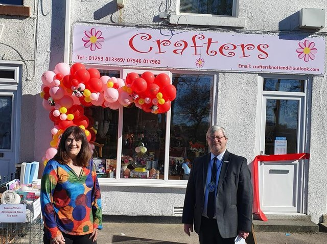 Karen Phillips outside her new shop, Crafters,  with Mayor of Knott End, Coun Phil Orme