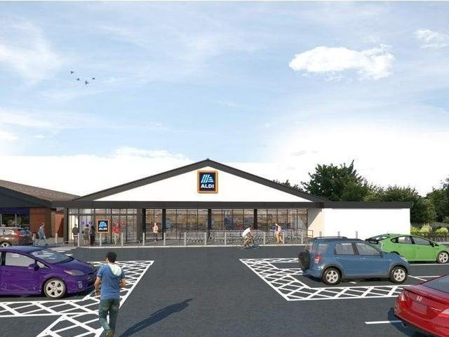 A CGI image of Fleetwood's Aldi supermarket after its building and car park extension. Photo: The Harris Group