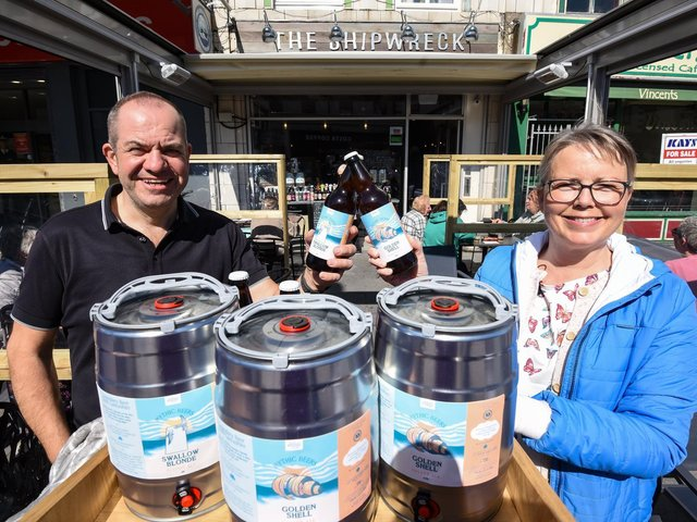 Shipwreck Brewhouse owner Paul Samson with Jane Littlewood, of Care for Cleveleys