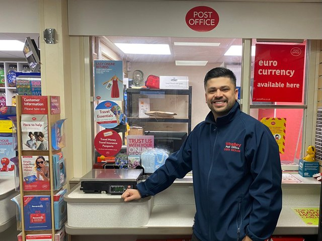 The Postmaster at the new town centre post office in Blackpool is Azim Shah