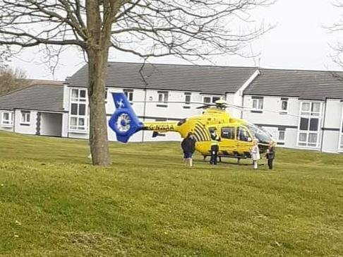 The air ambulance landed off Greenfield Road in Fleetwood before onboard paramedics attended a home in neighbouring Lindel Road. Pic: Sarah Louise
