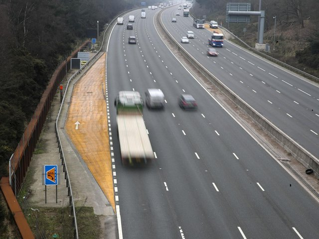 A emergency refuge area on the M3 smart motorway near Camberley in Surrey
