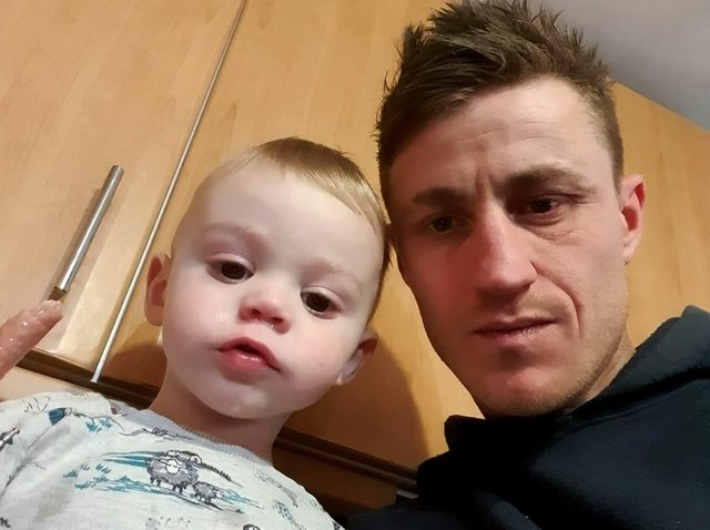 Danny Wise with his two-year-old son Harry