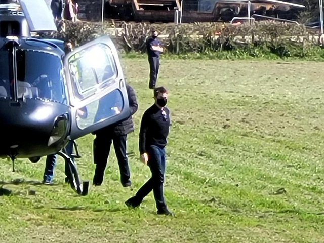 Hollywood superstar Tom Cruise has been spotted filming the new Mission Impossible film in a tiny Yorkshire village.