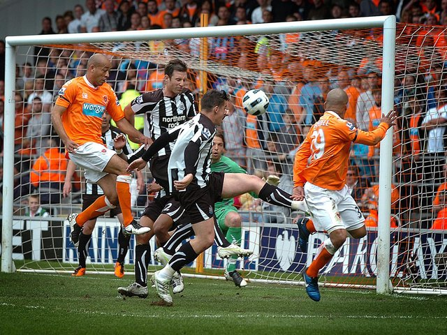 DJ Campbell scores Blackpool's goal against Newcastle United at Bloomfield Road