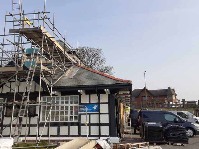 The final touches being put to the refurbishment of the RSPB visitor centre at Fairhaven Lake
