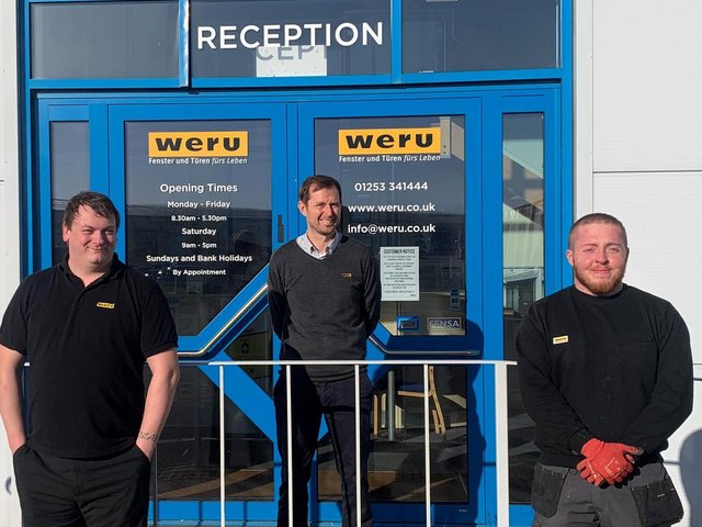 Weru UK has expanded its team in Blackpool. From left: Aaron McLaughlin, Designer, John Feeney, General Manager, and Anthony Johnson, Trainee Installer