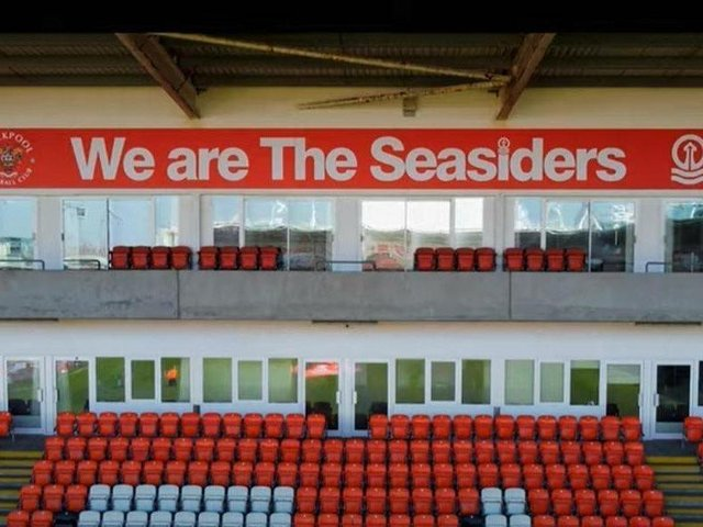 The 'We are The Seasiders' flag in position at Bloomfield Road