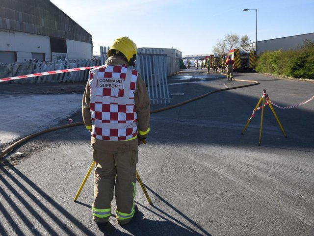 Crews remained at the scene later in the day