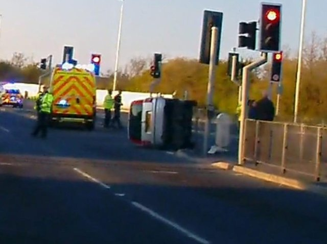 An overturned car at the scene of the crash in Amounderness Way, Cleveleys shortly after 7pm last night (Sunday, April 25)