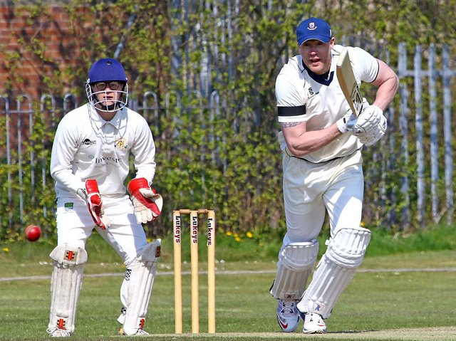 Andrew Flintoff making his St Annes comeback at Morecambe on the opening day of the season Picture: TONY NORTH