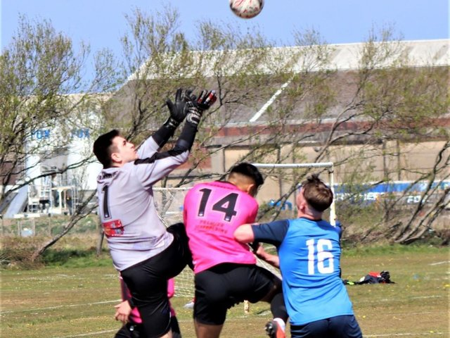 Action from the match between Highfield and FC Rangers Picture: Karen Tebbutt