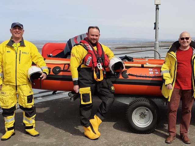 Alan Walker (right) with members of the Fleetwood RNLI crew