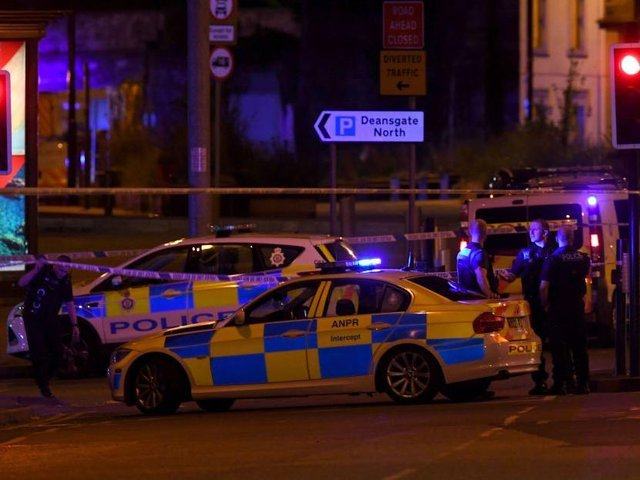 Police deploy at scene of explosion in Manchester, England, on May 23, 2017