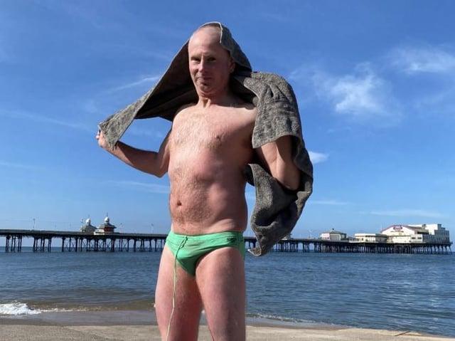 Nick White on Blackpool beach