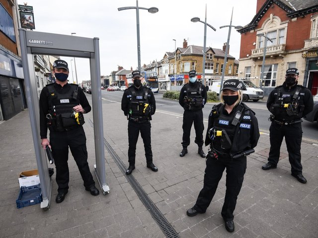 Blackpool Police officers with the knife arch on Lytham Road
