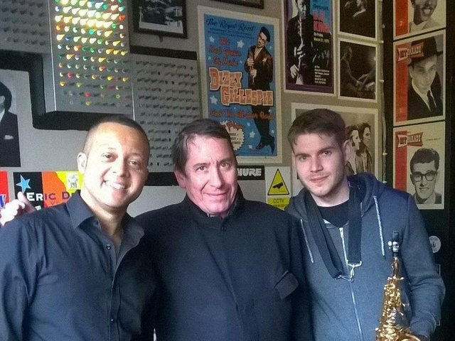 Stephen with Jools Holland on his visit to the music bar
