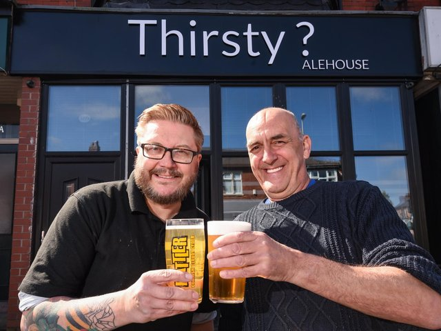 Thirsty? Alehouse will be opening soon on Church St in Blackpool.  Pictured are Garry Daw and Paul Higham.