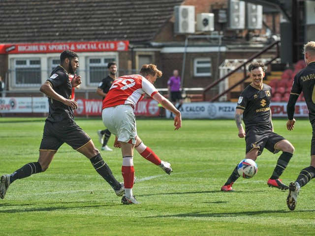 Ged Garner gives Fleetwood Town the lead Picture: Stephen Buckley/PRiME Media Images Limited