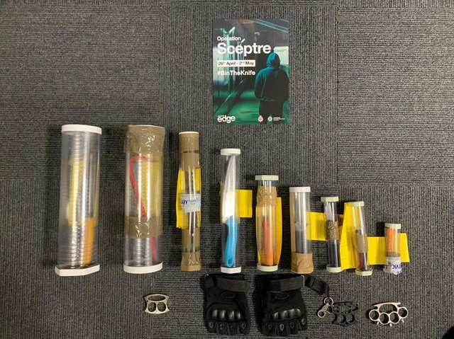 Some of the weapons seized across the Fylde coast