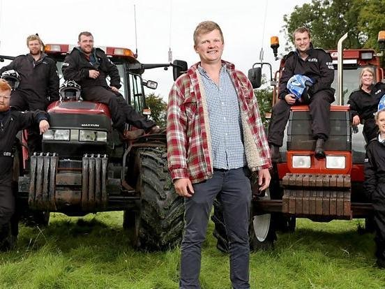 Tom Pemberton on the set of The Fast and the Farmer(ish) Picture: BBC.