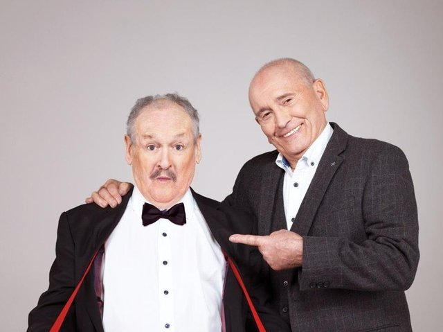Bobby Ball in typical pose with his long-time comedy partner Tommy Cannon