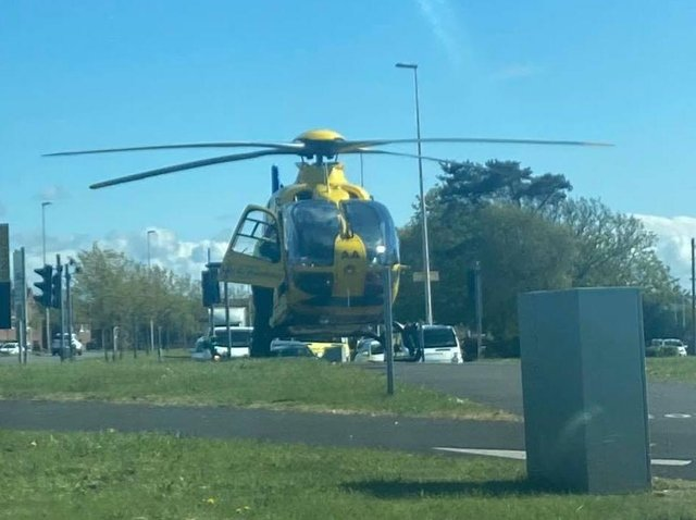 The air ambulance was called to the scene in Poulton Road, Blackpool after a 12-year-old girl was struck by a car at around 3.30pm on Wednesday (May 5). Picture by Karl Bonney