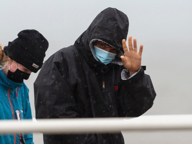 Diego Luna waves to fans who came out to see him in Cleveleys today