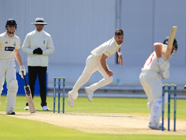 James Anderson made his first Lancashire appearance since July 2019 on day one against Glamorgan at Emirates Old Trafford