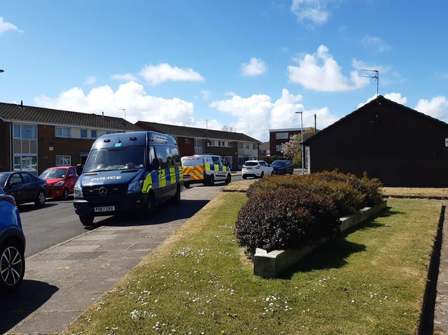 Police at Clayton Crescent today, May 7. Picture by Wes Holmes