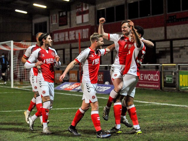 Fleetwood Town celebrate scoring against Ipswich Town in March Picture: Stephen Buckley/PRiME Media Images Limited