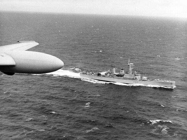 In 1973, during the Cod Wars, H. M. S. Jupiter, one of the Royal Navy frigates on patrol in the Iceland area as the Nimrod Surveillance Aircraft of Strike Command passes over the area