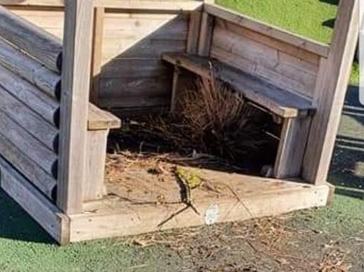 The damaged shelter at Freckleton Memorial Park