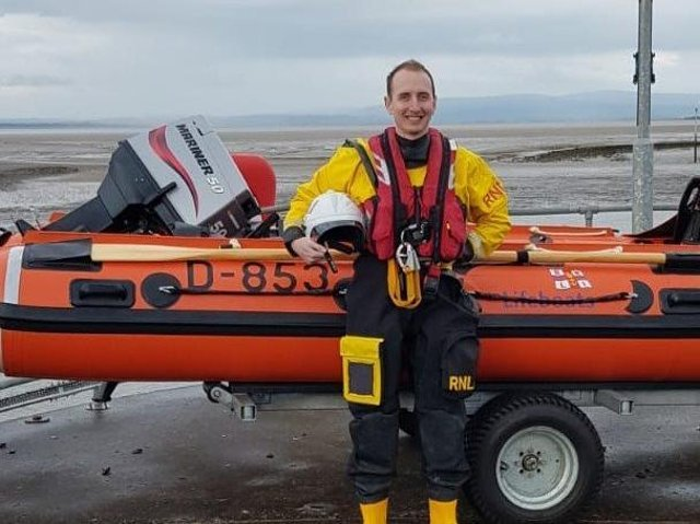 Jonathan Davies, from Fleetwood, as an RNLI volunteer. In his day job, he is first officer on the cruise liner Queen Elizabeth