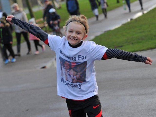 Jordan Banks, nine, died after being struck by lightning on May 11. Pictured here running a marathon in Stanley Park to raise money for a mental health charity