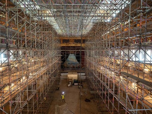 Project manager Keith Langton viewing the entire space of the Blackpool Tower Ballroom which is covered in scaffolding during its restoration