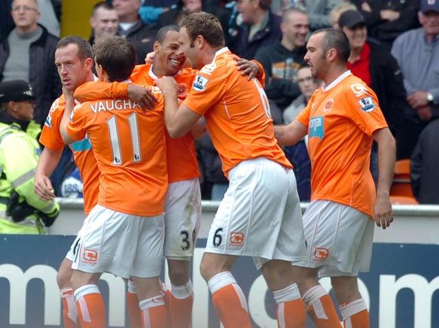 DJ Campbell celebrates scoring for Blackpool